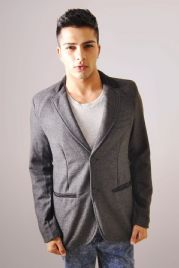 Light Grey Tweed Jacket With Woven Collar